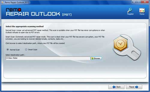 Restore Outlook Journal - Select PST File